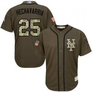 Authentic Men's Adeiny Hechavarria Green Jersey - #25 Baseball New York Mets Salute to Service