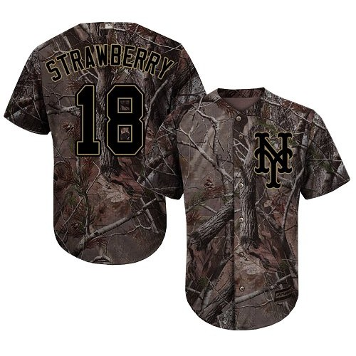 Authentic Youth Darryl Strawberry Camo Jersey - #18 Baseball New York Mets Flex Base Realtree Collection