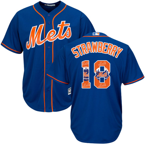 Men's New York Mets #18 Darryl Strawberry Authentic Royal Blue Team Logo Fashion Cool Base Baseball Jersey