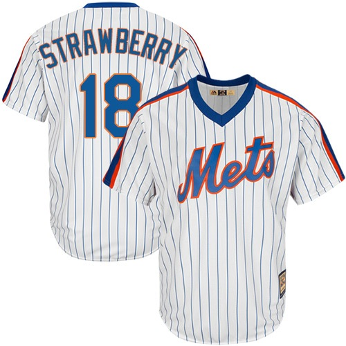 Men's New York Mets #18 Darryl Strawberry Authentic White Cooperstown Baseball Jersey