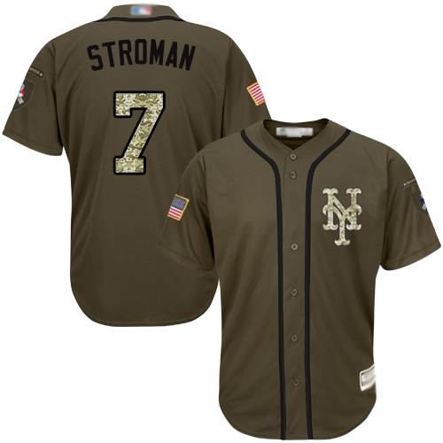 Authentic Youth Marcus Stroman Green Jersey - #7 Baseball New York Mets Salute to Service