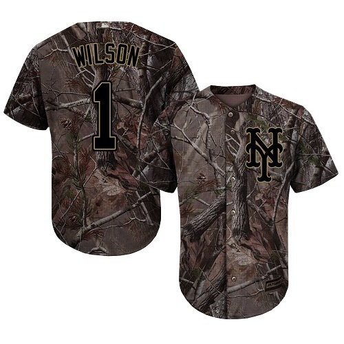 Authentic Men's Mookie Wilson Camo Jersey - #1 Baseball New York Mets Flex Base Realtree Collection