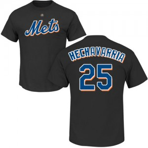 Adeiny Hechavarria Black Name & Number - #25 Baseball New York Mets T-Shirt